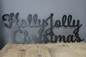 holly jolly christmas metal sign