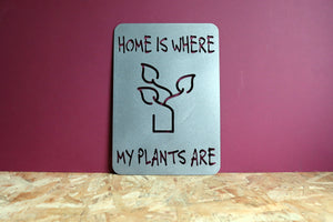 Home is Where My Plants Are Metal Sign