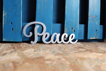 Load image into Gallery viewer, peace word metal sign