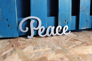 peace word metal sign
