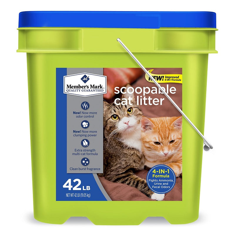 Member's Mark 4-in-1 Formula Scoopable Cat Litter, 42 lb