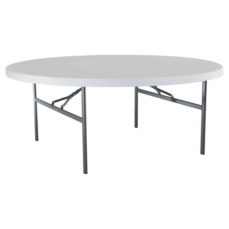 Lifetime Round Commerce Folding Table White, 72 In  (USD)