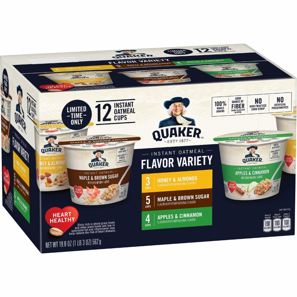 Quaker Instant Oatmeal cups Flavor Variety, 12 cups