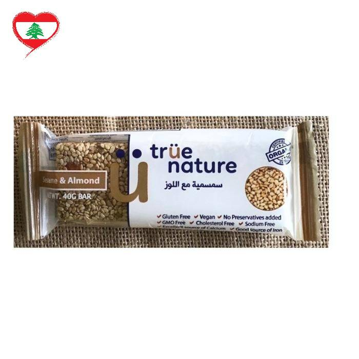 True Nature Organic Snack Bar Sesame/Almond GF Vegan, 40g