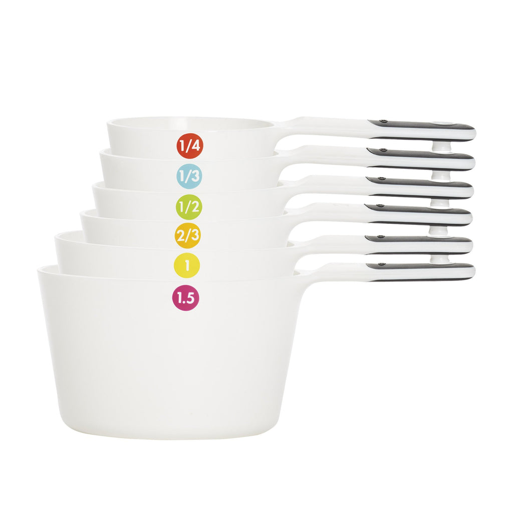 oxo 7 pc plastic measuring cups w 1.5c - snaps - white