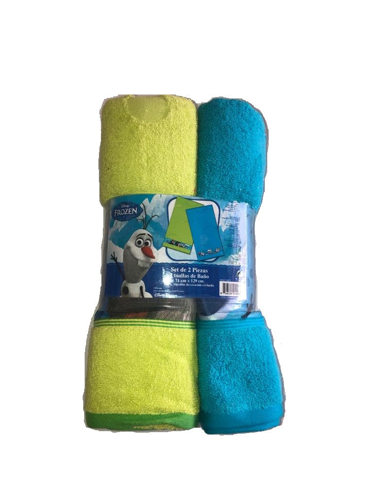 Disney Kids Towel Frozen Green/Blue, 2 Pk / 71 x 129 cm