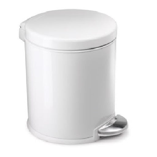 Simple Human Round Pedal Bin White Steel, 4.5L    (USD)