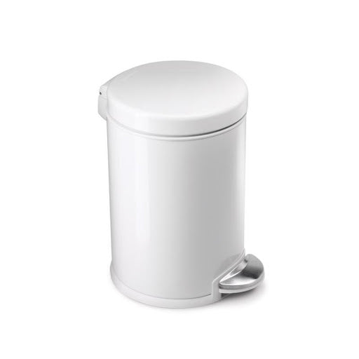 Simple Human Round Pedal Bin White Steel, 3L   (USD)