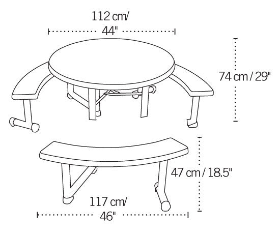 Lifetime Round Picnic Table, 43.8 In  (USD)