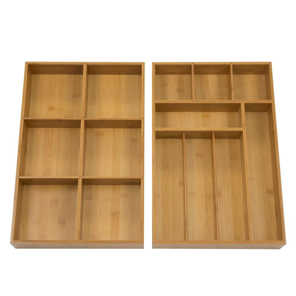 Seville Classics, 2 Pack Bamboo Drawer Organizer