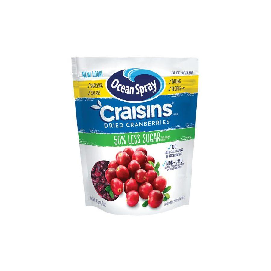 Ocean Spray Craisins Dried Cranberries 50% Less Sugar, 43 oz