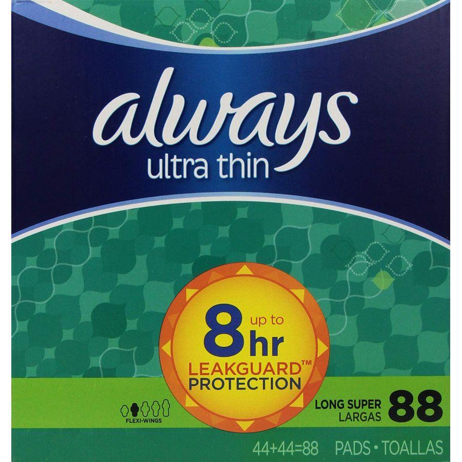Always Ultra Thin Long/Super Pads With Wings, 88 ct