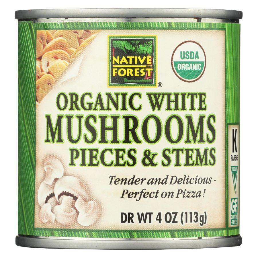Native Forest Organic White Mushrooms Pieces & Stems Gluten Free Vegan, 4 oz