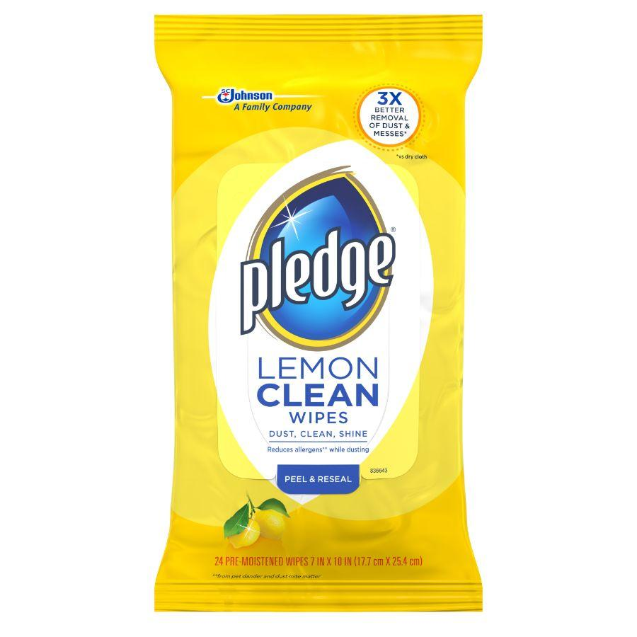 Pledge Lemon Clean Wipes, 24 Ct