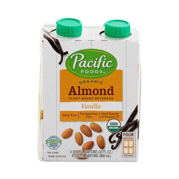 Pacific Organic Almond milk -Vanilla, 4x 8 oz