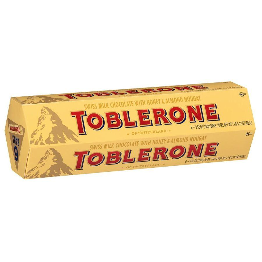 Toblerone Swiss Milk Chocolate with Honey & Almond Nougat, 6x 3.52