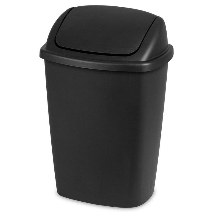 Sterilite Swingtop Wastebasket Black, 7.5 Gal