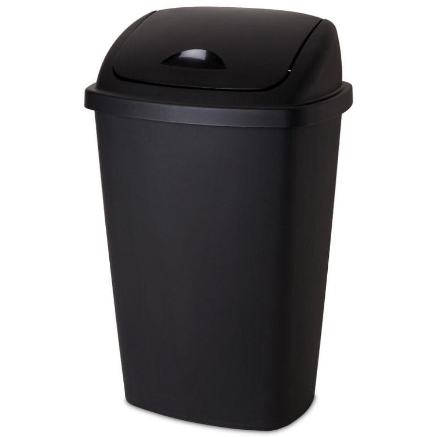 Sterilite Swingtop Wastebasket Black, 13.2 Gal