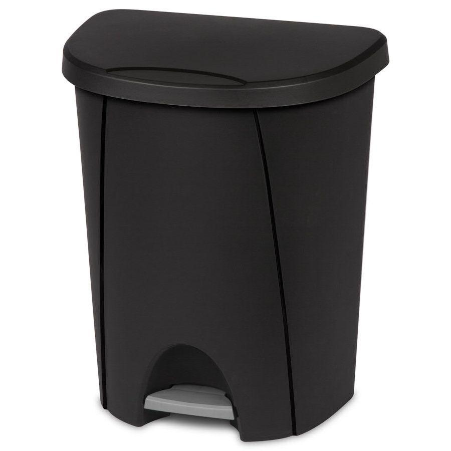 Sterilite Step On Wastbasket Black, 6.6 gal