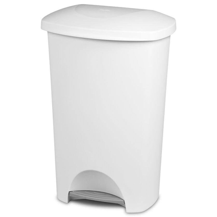 Sterilite Step On Wastebasket White, 11 gal