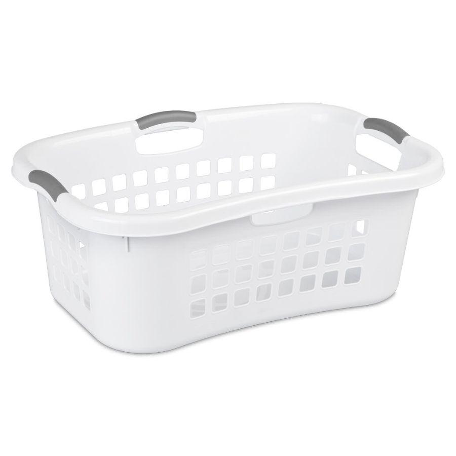 Sterilite Ultra HipHold White Laundry Basket, 53 L