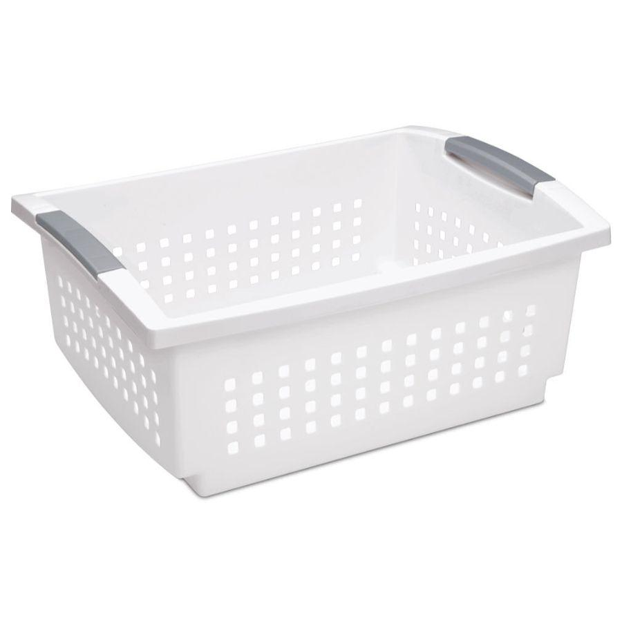 Sterilite Large Stacking Basket White, 43L x 33W x 18H cm
