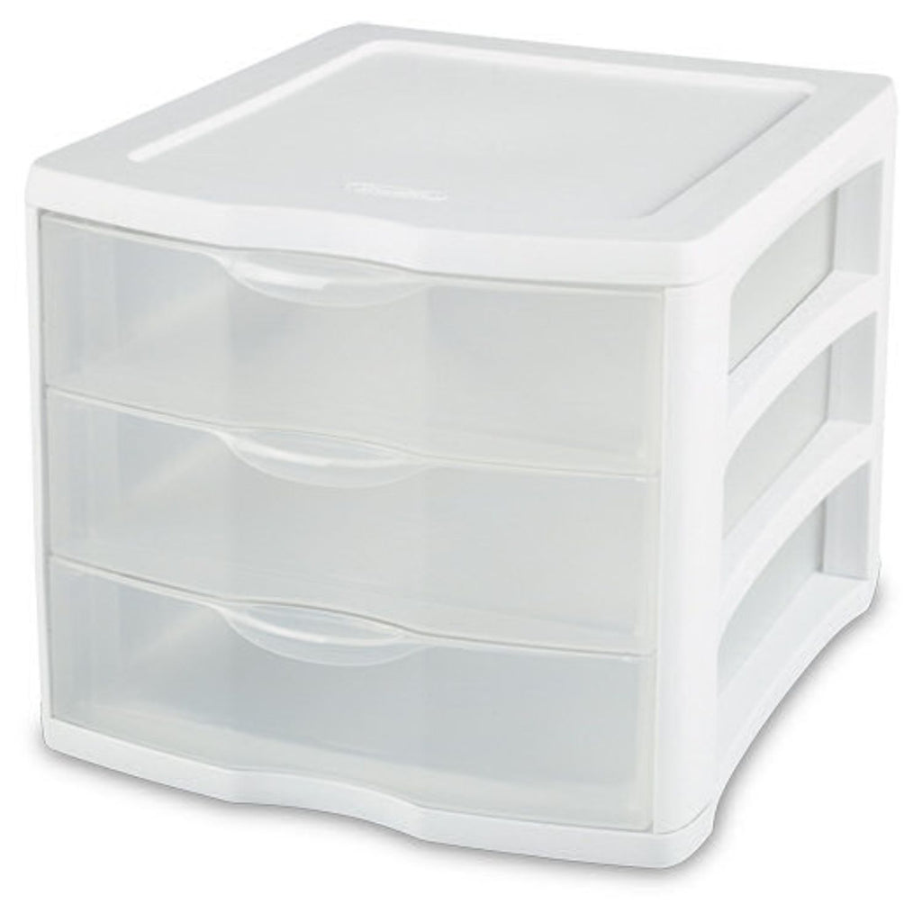 Sterilite, Clear View 3 Drawer White