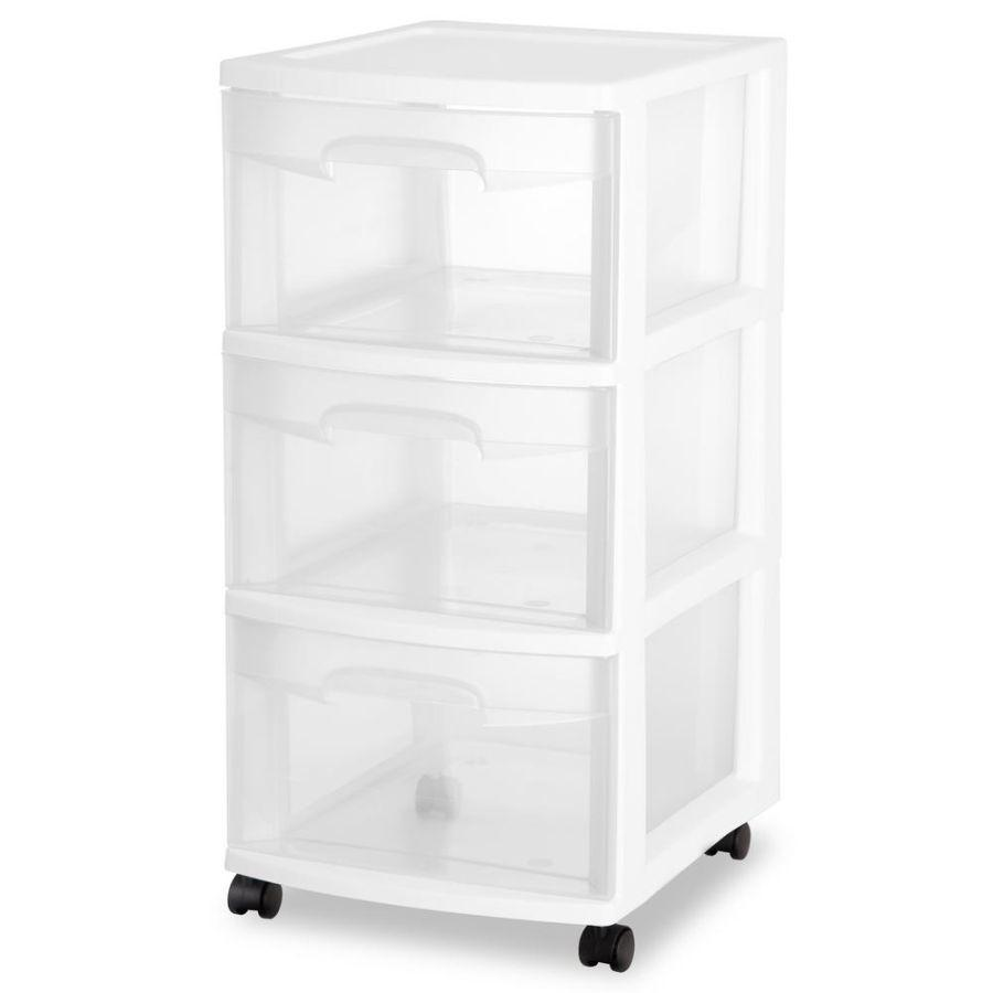 Sterilite 3 Drawer Medium Cart White