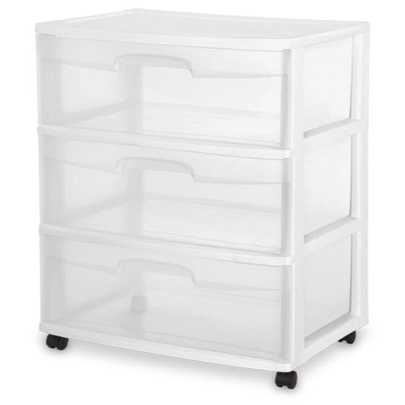 Sterilite 3 Drawer Wide Cart White , 38.7cm x 55.6cm x 65.1cm