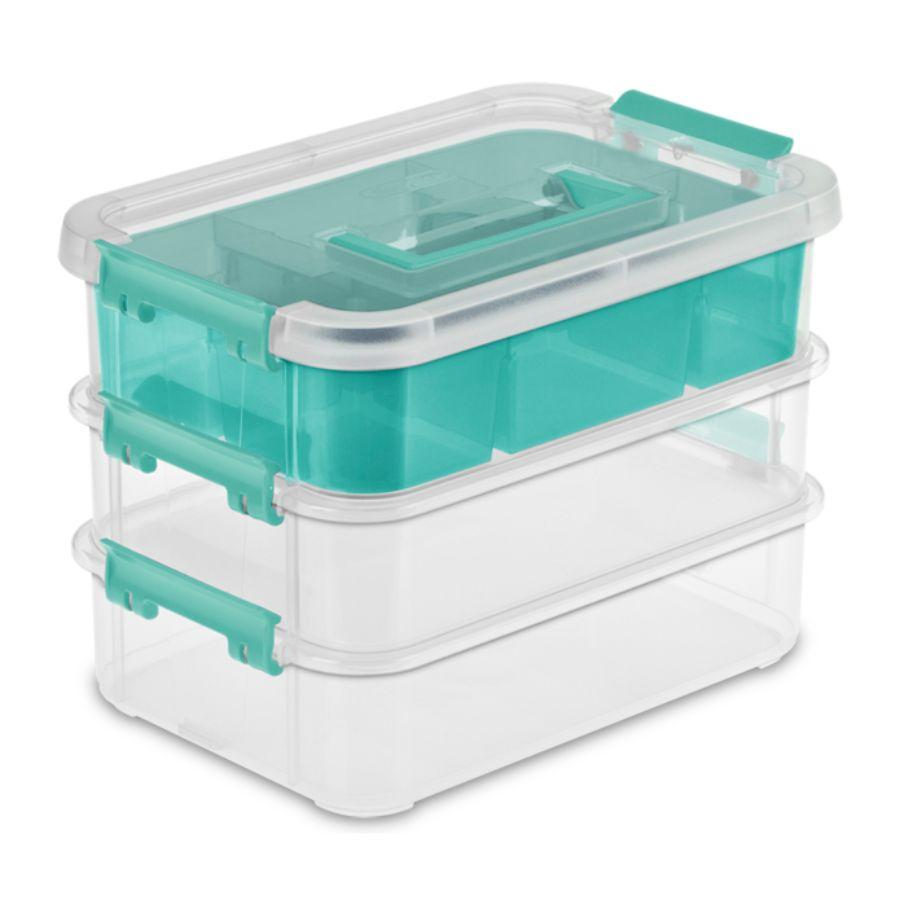 Sterilite Stack & Carry 3 Layer Handlebox & Tray