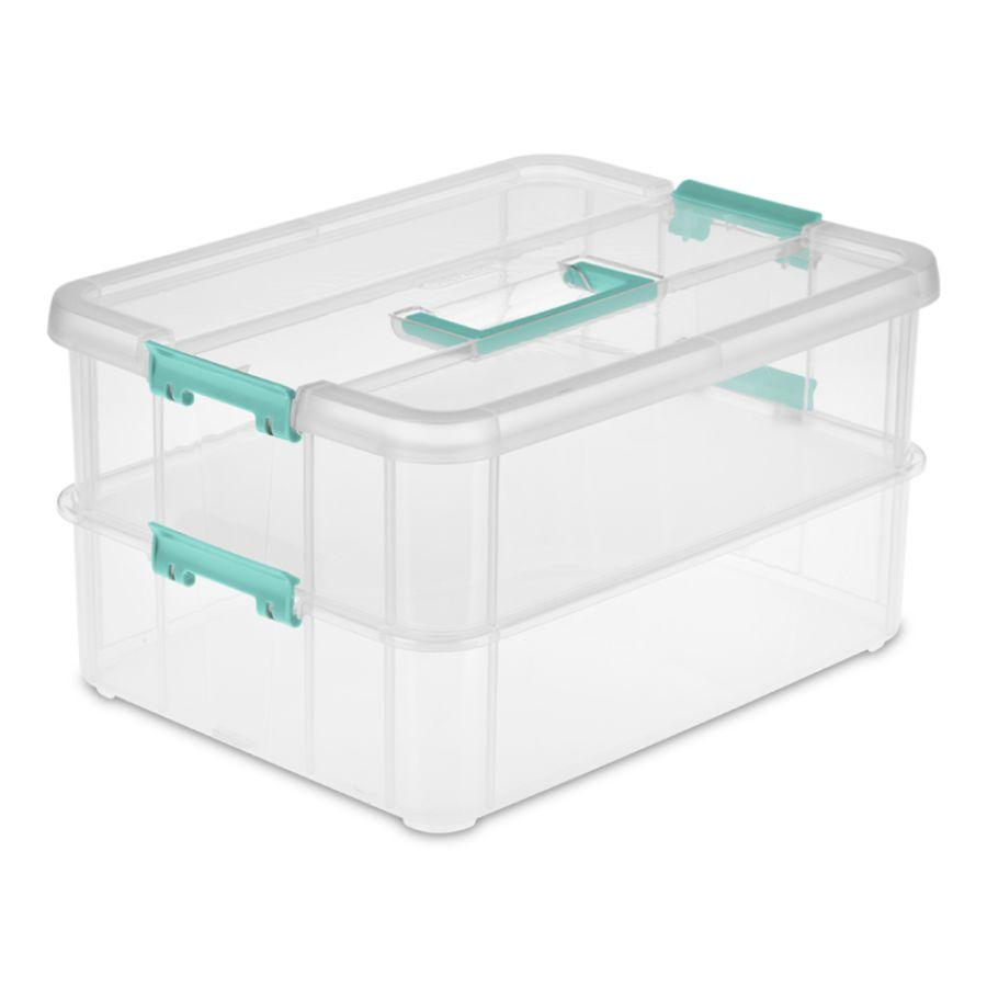 Sterilite Stack & Carry 2 Layer Handlebox & Tray