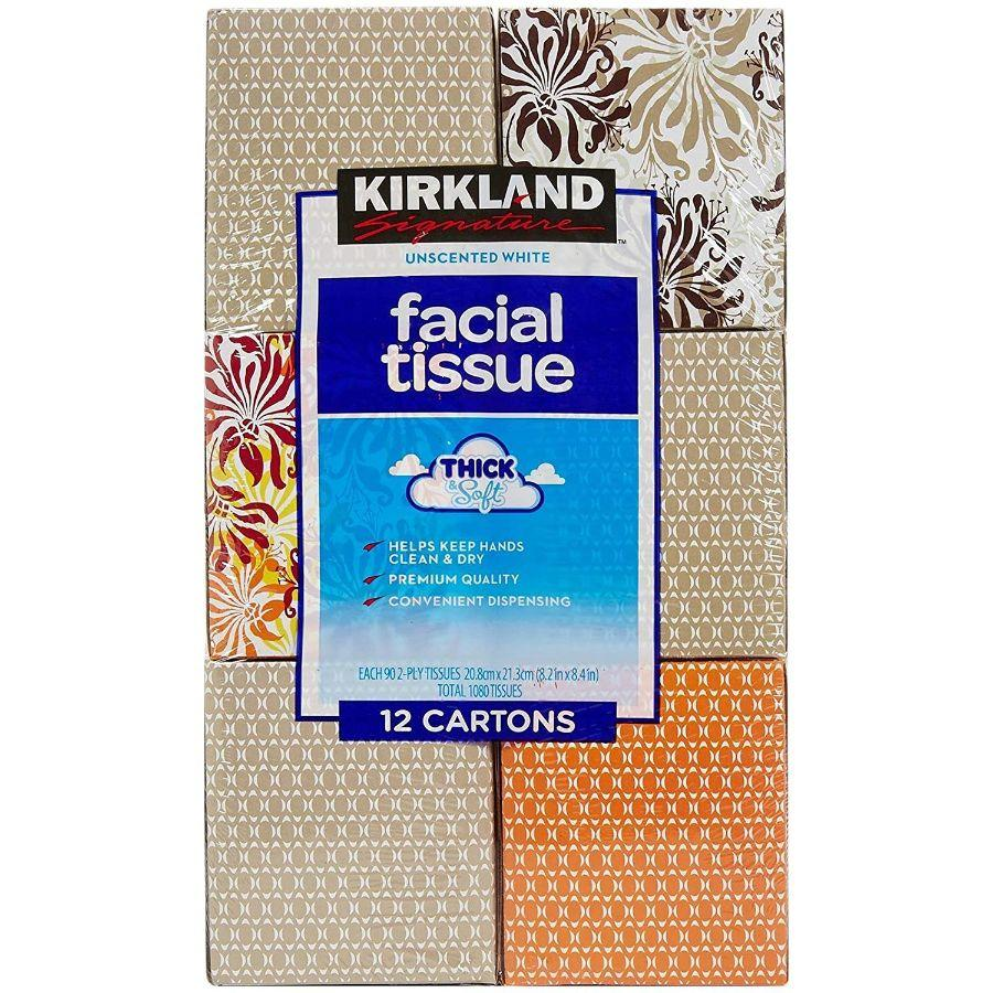 Kirkland Signature  Unscented White Facial 90 Tissues 2-Ply, 12 Pk