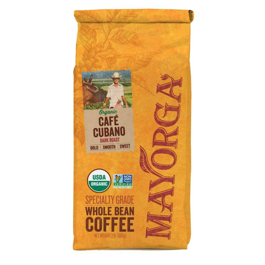 Mayorga 100% Organic Cafe Cubano Whole Bean Coffee, 2 lb