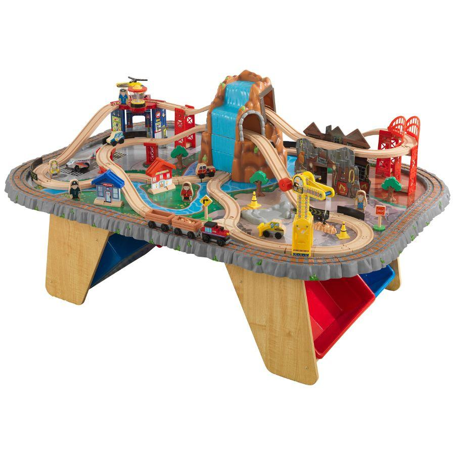 KidKraft Waterfall Junction Wooden Train Set & Table