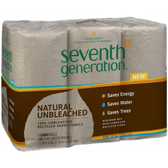 Seventh Generation, Unbleached Paper Towels 2-Ply, 6 x 120