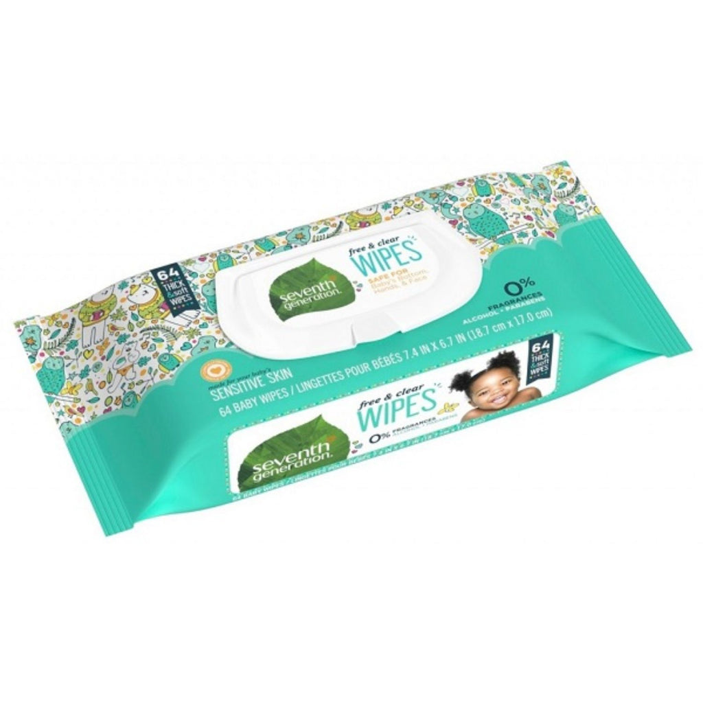 Seventh Generation, Baby Free & Clear Wipes x64