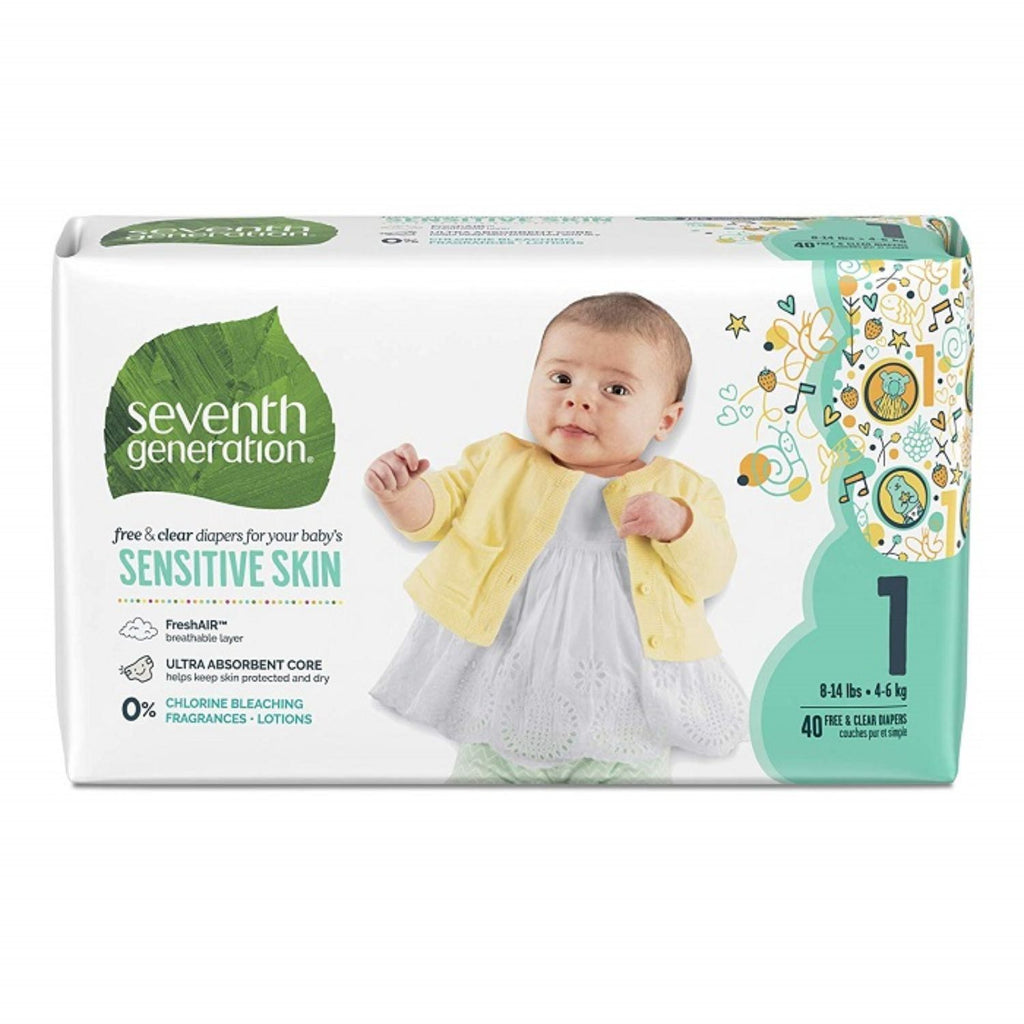 Seventh Generation, Baby Diapers Jumbo size 1 - 40ct