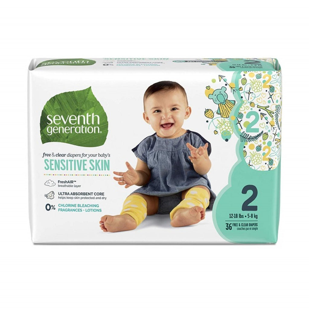 Seventh Generation, Baby Diapers Jumbo Size 2 - 36ct