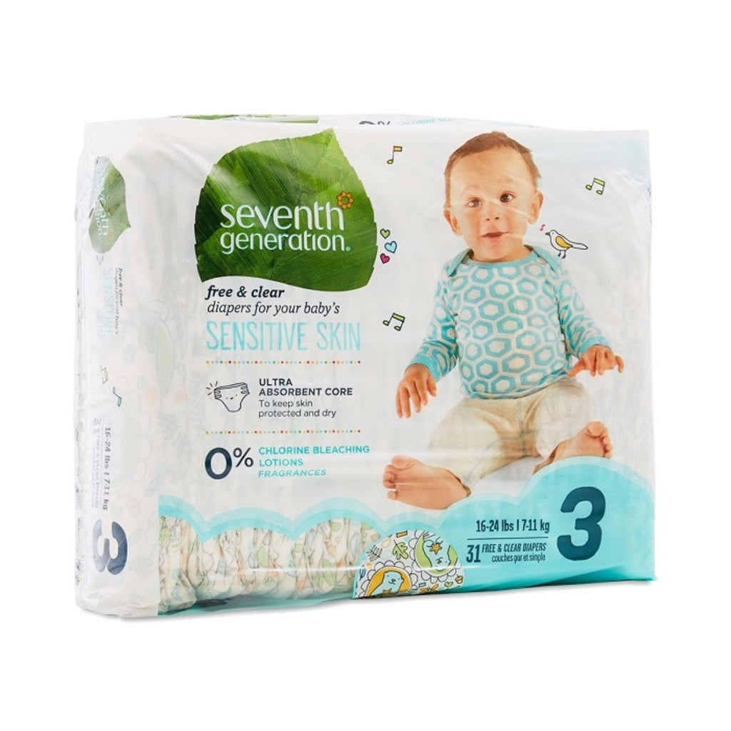 Seventh Generation, Baby Diapers Jumbo size 3 - 31ct