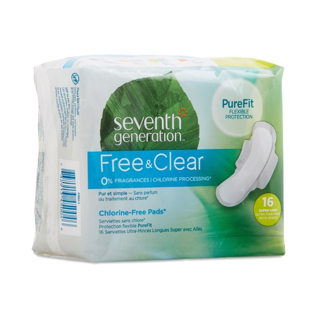 Seventh Generation, Fem Care Ultrathing Super Long pads, x16 ct