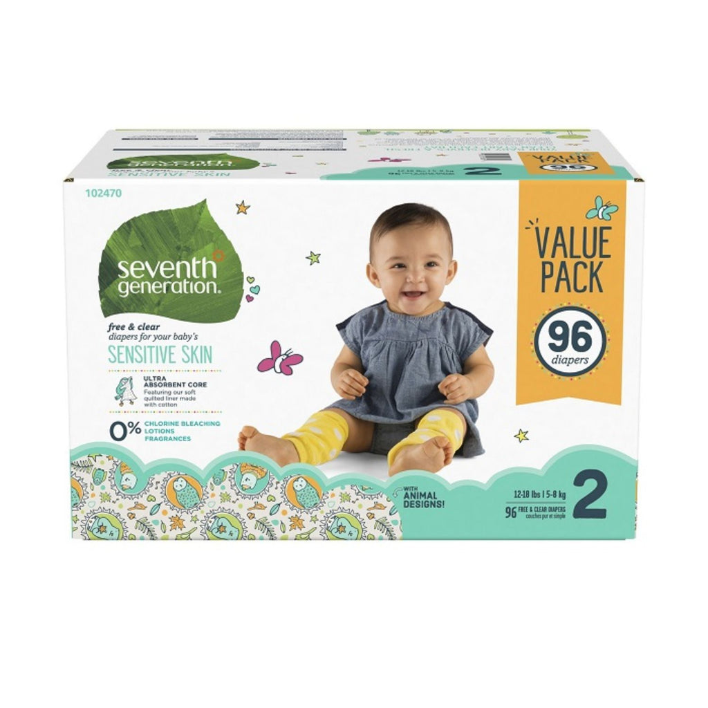 Seventh Generation, Baby Diapers Mega Pack Size 2- 96ct