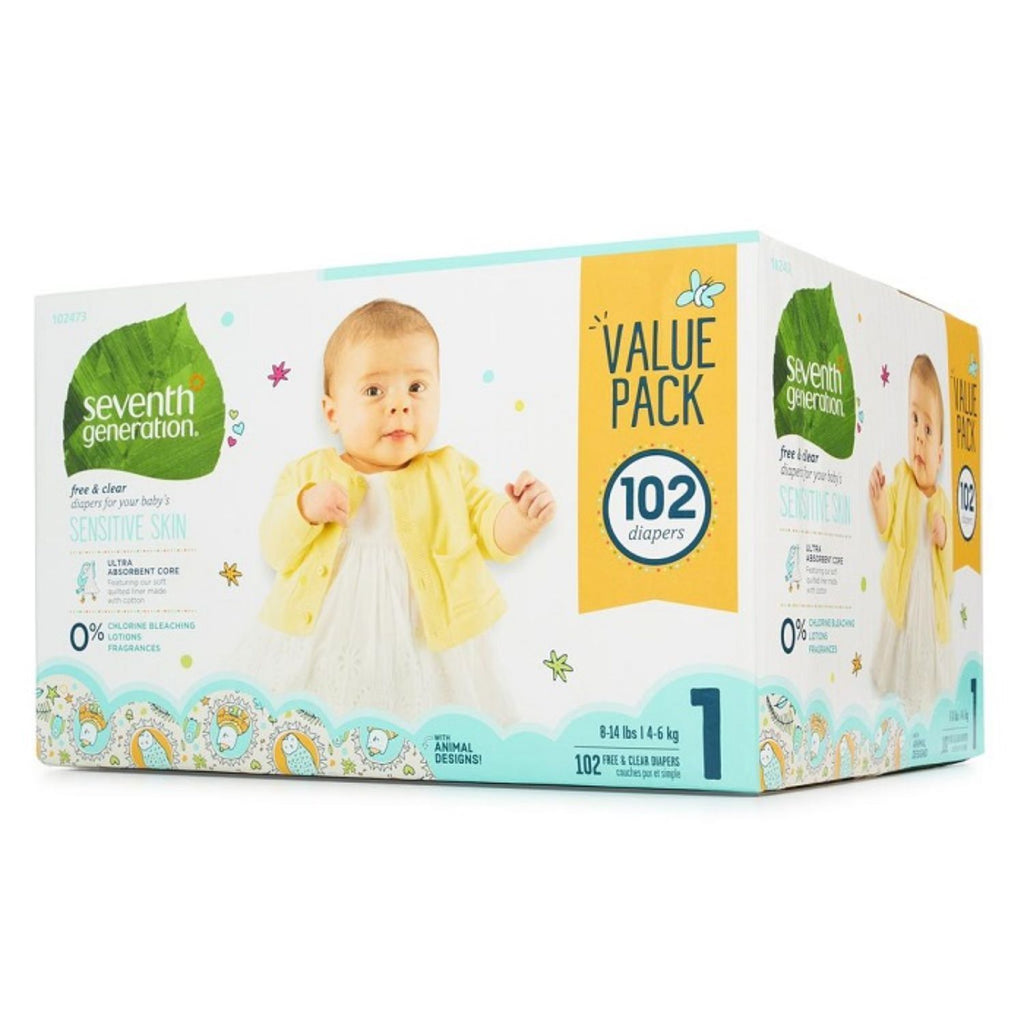 Seventh Generation, Baby Diapers Mega Pck Size 1- 102ct