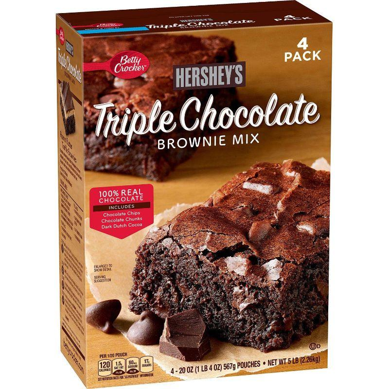 Betty Crockers Hershey's Triple Chocolate Brownie Mix, 20 oz