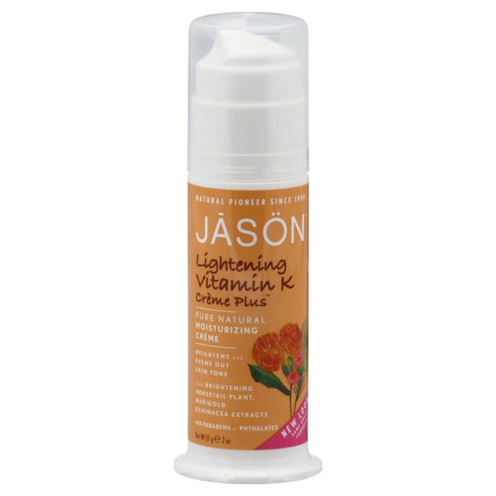 Jason, Pure Natural Moisturizing Crème, Lightening Vitamin K Crème Plus, 2 oz