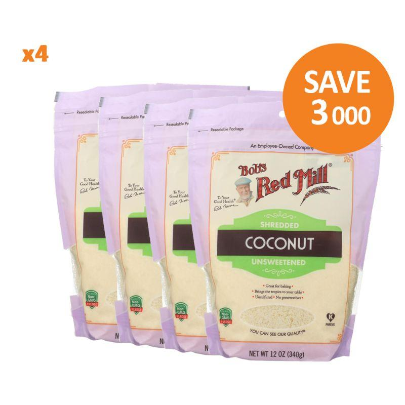 Bob's Red Mill Unsweetened Shredded Coconut, 4x 12 oz