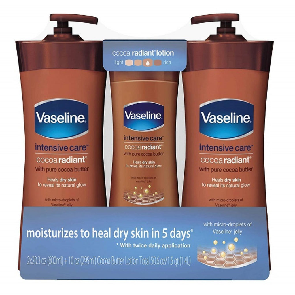 Vaseline, Intensive Care Cocoa Radiant with Cocoa Butter, 2 x 20.3 + 10 oz