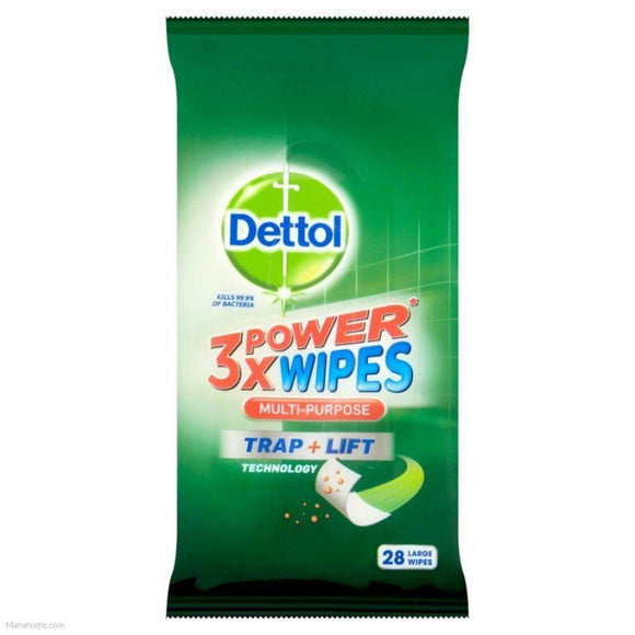 Dettol, 3x Power Wipes Multi-Purpose, 28 ct