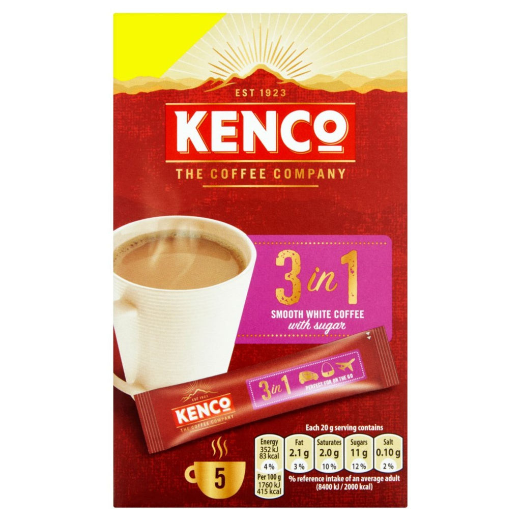 Kenco, 3-In-1 Smooth White Coffee, 5 x 20 g