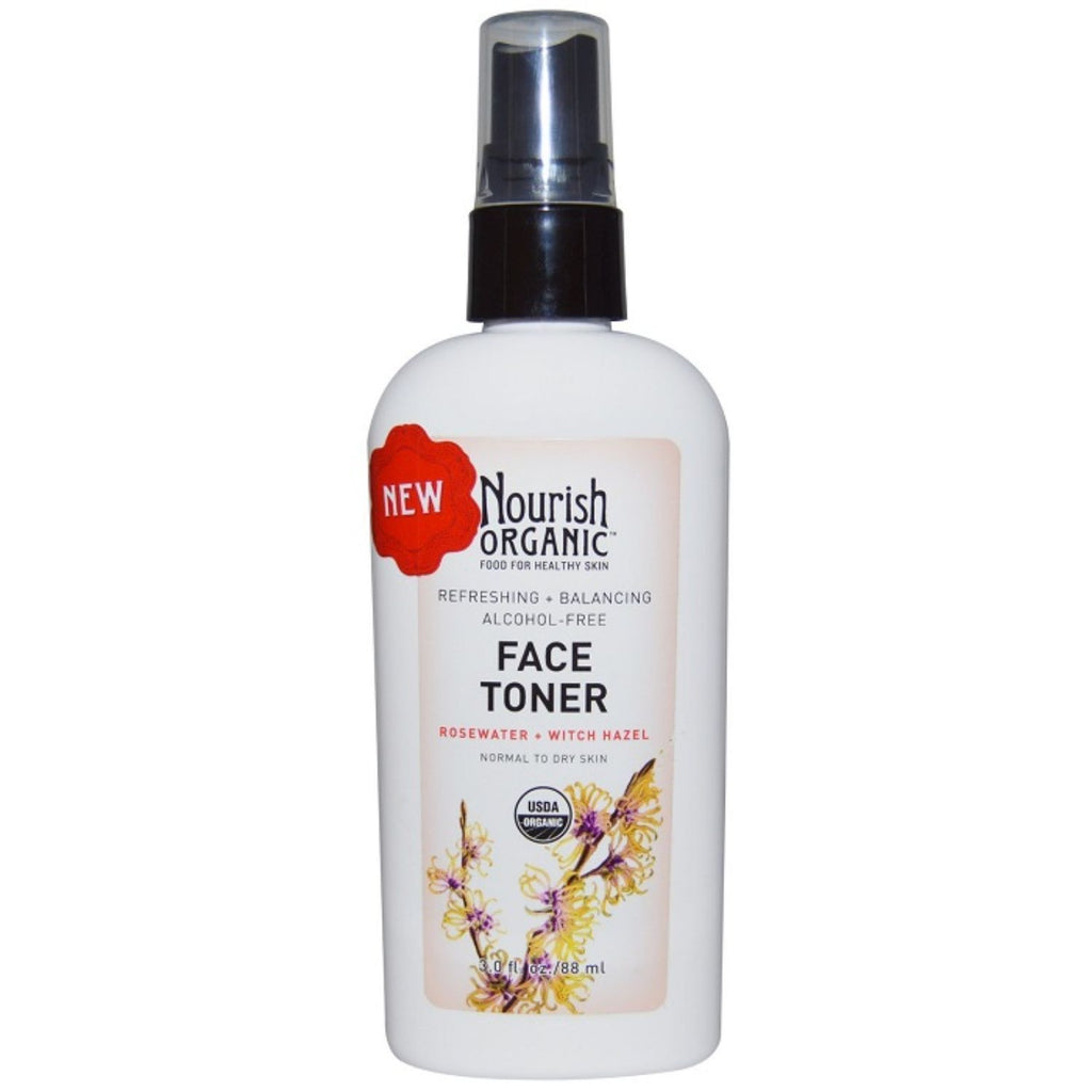 Nourish Organic, Refreshing & Balancing Face Toner Rosewater + Witch Hazel, 3 oz