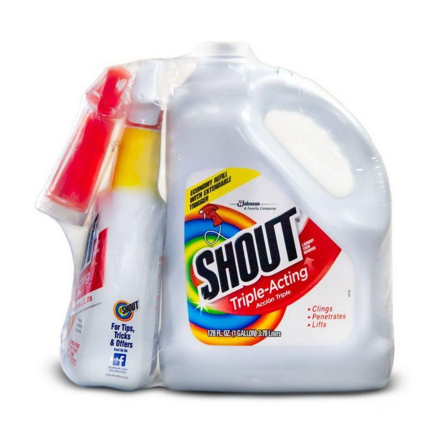 Shout Triple Acting Stain Remover, 128 oz + 32 oz Refill